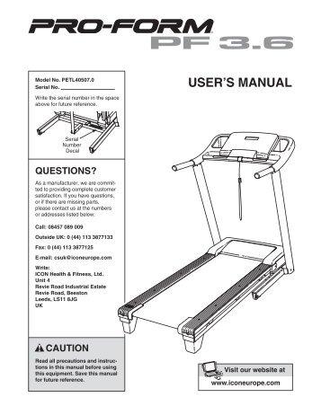 User's manual for treadmill icon health & fitness 1300 zlt.