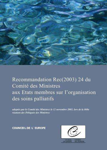 recommandations du comité du ministre aux états membres sur l ...