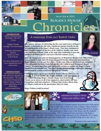 Winter 2012 Newsletter - Roger's House