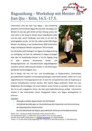 Baguazhang – Workshop mit Meister An Jian Qiu – Kö ln, 16.5.-17.5.