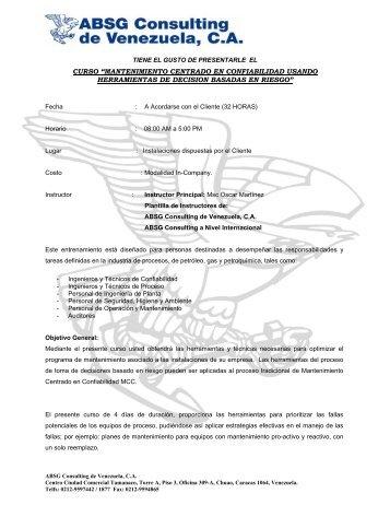 """curso """"mantenimiento centrado en confiabilidad ... - ABS Consulting"""