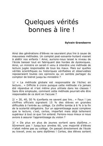 Quelques vérités bonnes à lire ! - Site de Philippe Meirieu