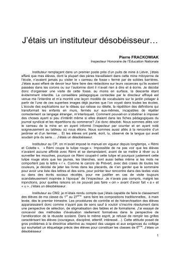 J'étais un instituteur désobéisseur… - Site de Philippe Meirieu