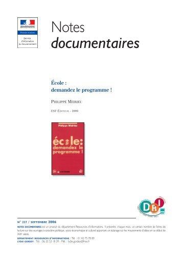 Note documentaire - Site de Philippe Meirieu