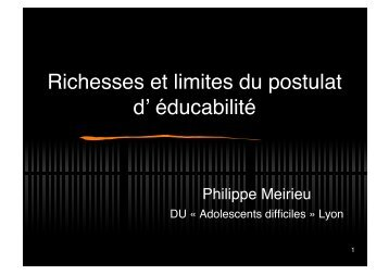 """Adolescents difficiles"" le - Site de Philippe Meirieu"