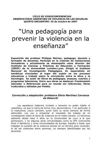 """""""Una pedagogía para prevenir la violencia en la enseñanza"""""""