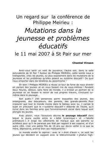 Mutations dans la jeunesse et problèmes éducatifs - Site de Philippe ...