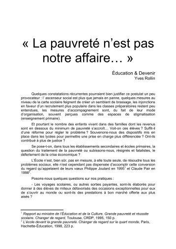 « La pauvreté n'est pas notre affaire… » - Site de Philippe Meirieu