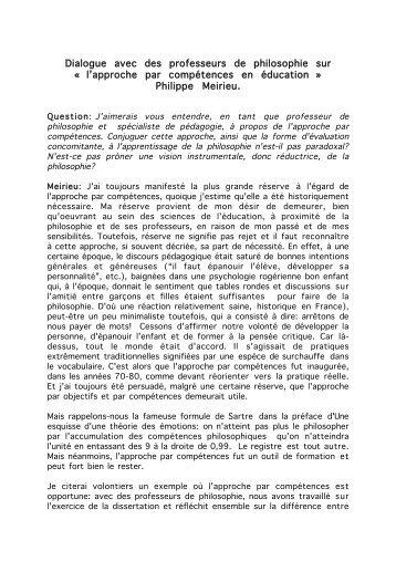 l'approche par compétences en éducation - Site de Philippe Meirieu