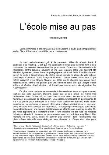 L'école mise au pas - Site de Philippe Meirieu