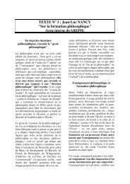 TEXTE N° 1 : Jean-Luc NANCY