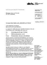 Mitarbeiter, Alumni und Freunde des DKFZ Heidelberg 15. Alumni ...