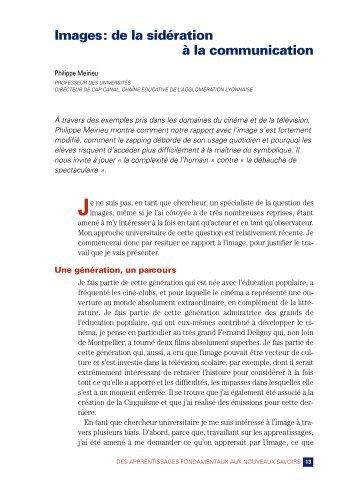 I mages: de la sidération à la communication - Site de Philippe Meirieu