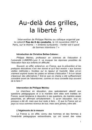 Au-delà des grilles, la liberté ? - Site de Philippe Meirieu