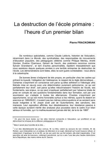 La destruction de l'école primaire - Site de Philippe Meirieu