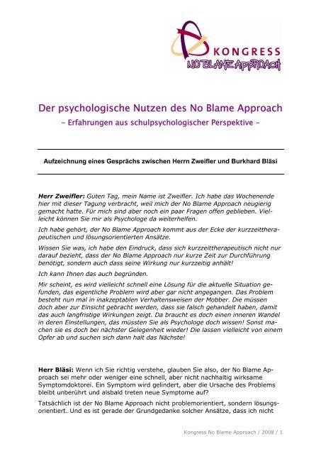 Der psychologische Nutzen des No Blame Approach