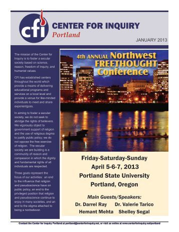 January 2013 Newsletter - Center for Inquiry