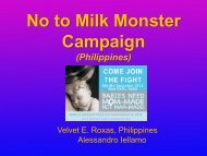 No to Milk Monster Campaign - World Breastfeeding Conference