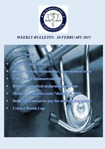 WEEKLY BULLETIN: 20 FEBRUARY 2015