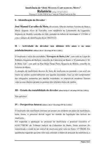 """Insolvência de """"JOSÉ MANUEL CARVALHO DA MOTA"""" I ..."""