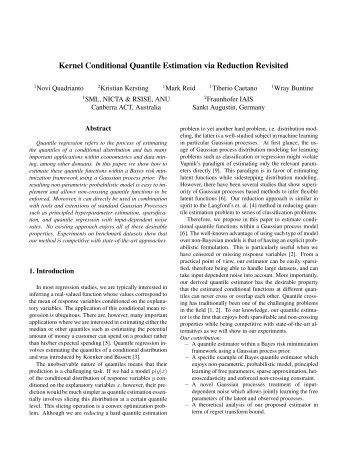 Kernel Conditional Quantile Estimation via ... - Tiberio Caetano