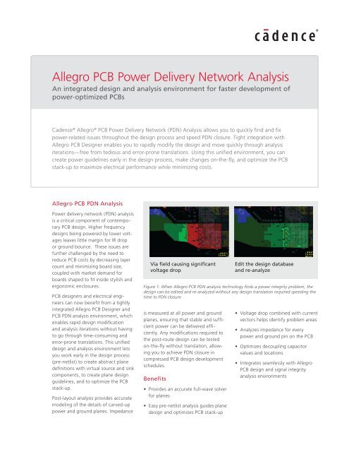 Allegro PCB Power Delivery Network Analysis Datasheet - Cadence