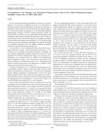 Letters to the Editor - Department of Molecular and Cell Biology