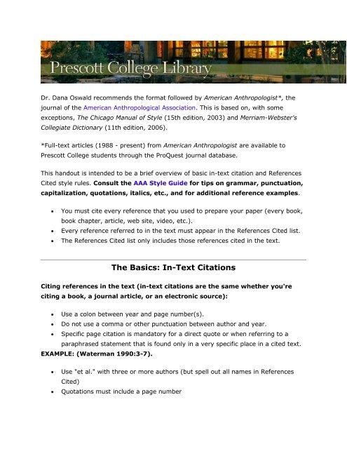 The Basics In Text Citations Prescott College