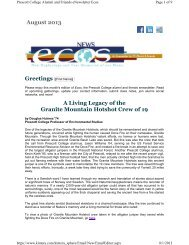 Ecos Alumni Newsletter August 2013 Edition - Prescott College