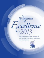 2013 APhA In Recognition of Excellence Awards Booklet - American ...