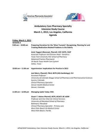 Ambulatory Care Pharmacy Specialty Intensive Study Course March ...
