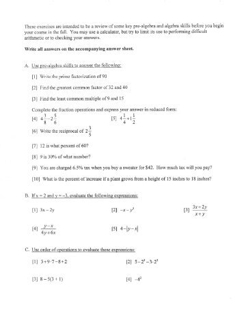 summer review packet preparation for algebra 2