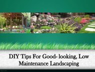 DIY Tips For Good- looking, Low Maintenance Landscaping