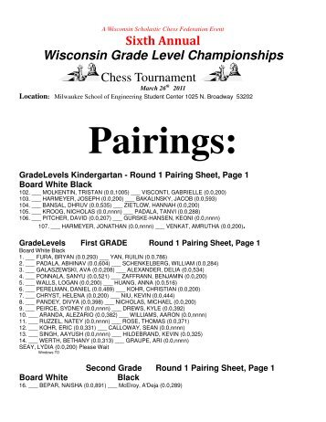 Sixth Annual Wisconsin Grade Level Championships Chess ...