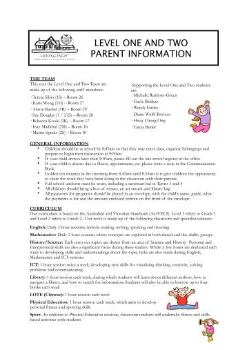 Level 1 and 2 Parent Information Handout 2012 - Doncaster Primary ...