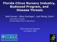 Florida Citrus Nursery Industry, Budwood Program, and ... - CEDAF