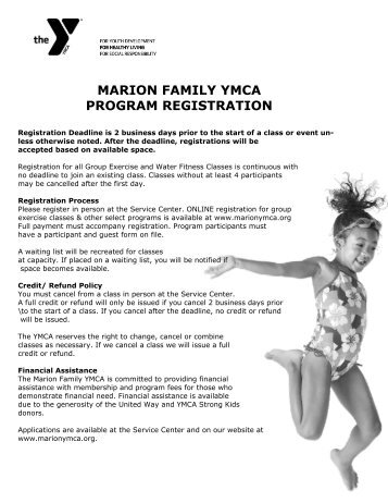 Summer I and II Session 2012 - Marion Family YMCA