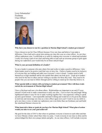 Lizzy Schumacher Freshman Class Officer - Marian High School