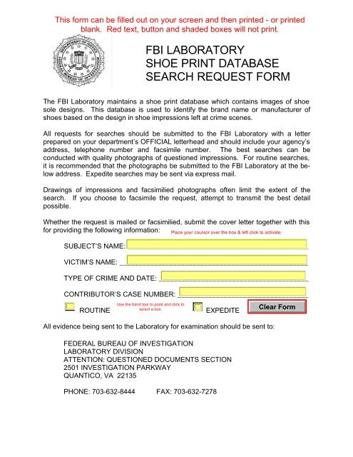 Fbi Laboratory Shoe Print Database Search Request Form