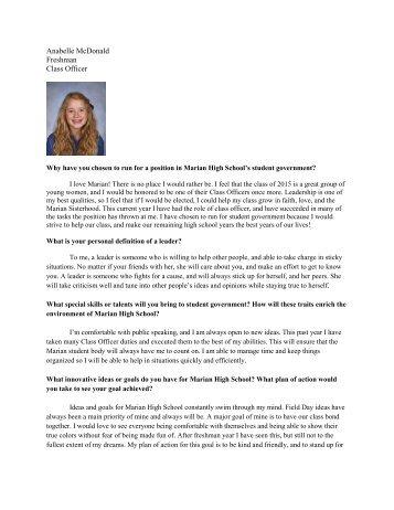 Anabelle McDonald Freshman Class Officer - Marian High School