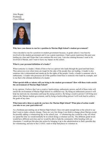 Alex Regan Freshman Class Officer - Marian High School