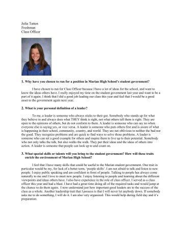 Julia Tatten Freshman Class Officer - Marian High School
