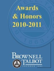 Awards & Honors 2010-2011 - Brownell-Talbot School