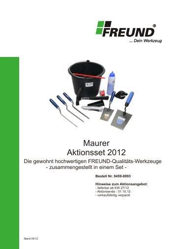 FREUND Maurer- Aktionsset 2012 - Freund & CIE.