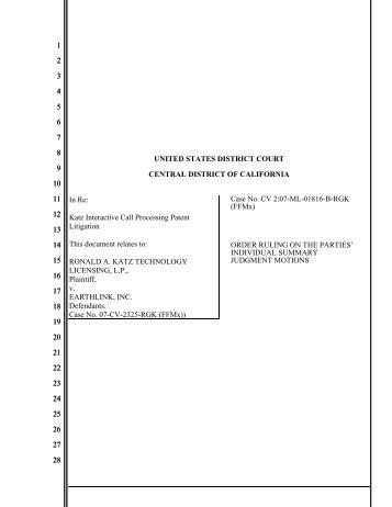 Ronald A. Katz Technology Licensing v. Earthlink - IP Spotlight