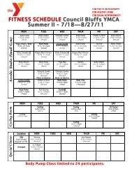 FITNESS SCHEDULE Council Bluffs YMCA Summer II - 7/18—8/27/11