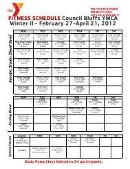 FITNESS SCHEDULE Council Bluffs YMCA Winter II - February 27 ...