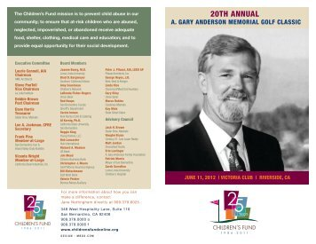 A. Gary Anderson Memorial Golf Classic - Children's Fund