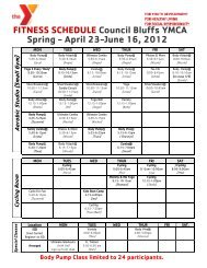 FITNESS SCHEDULE Council Bluffs YMCA Spring - April 23-June ...