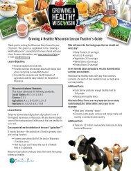Teacher's Guide - Wisconsin Milk Marketing Board (WMMB)
